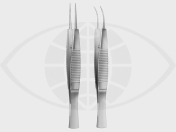Troutman  Micro-Tying Forceps, curved very delicate with Tying Platform 5 mm 9,5 cm